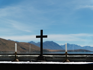 Image of a crucifix, Tekapo, South Island, New Zealand